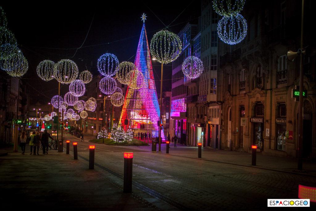 Árbol de Navidad en Puerta del Sol en Vigo